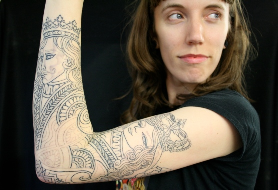 The Empress & The Emperor, 2011 (Outline only - in progress...), Tattoo by Megan Oliver