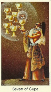 7 of Cups - Tarot of the Cat People by Karen Kuykendall