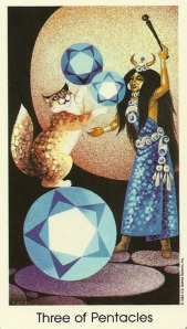 3 of Pentacles - Tarot of the Cat People by Karen Kuykendall