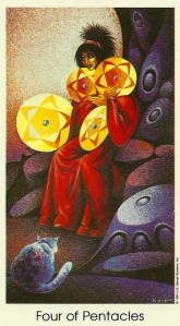 4 of Pentacles - Tarot of the Cat People by Karen Kuykendall