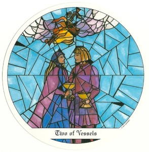 2 of Vessels - Tarot of the Cloisters by Michelle Leavitt