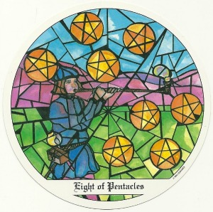 8 of Pentacles - Tarot of the Cloisters by Michelle Leavitt