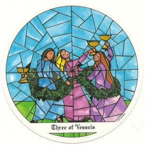 3 of Vessels (Cups) - Tarot of the Cloisters by Michelle Leavitt