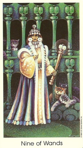 9 of Wands - Tarot of the Cat People by Karen Kuykendall