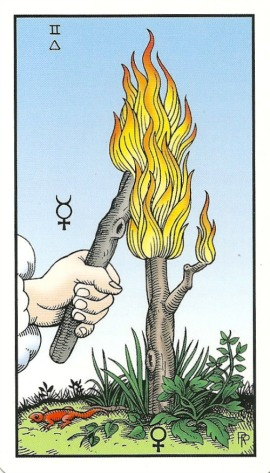 2 of Staffs (Wands) - Alchemical Tarot Renewed by Robert M. Place
