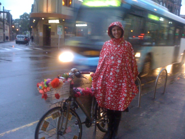 Psychic Sarah's Polkadotted Riding Cape