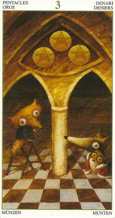 3 Of Pentacles Tarot Del Bosque Magico By Hsu Chi Chun Leo Tang