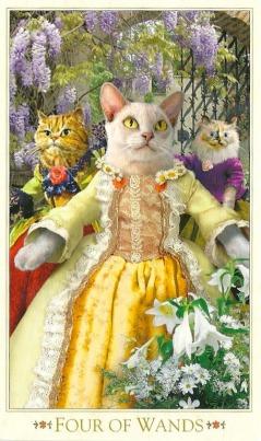 4 of Wands - Bohemian Cats' Tarot by Alex Ukolov & Karen Mahony