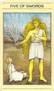 5 of Swords - Mythic Tarot by Juliet Sharman-Burke