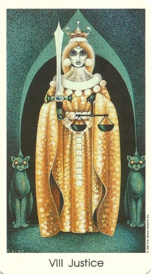 Justice - Tarot of the Cat People by Karen Kuykendall