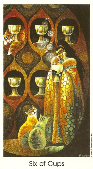 Six of Cups - Tarot of the Cat People by Karen Kuykendall