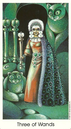 Three of Wands - Tarot of the Cat People by Karen Kuykendall