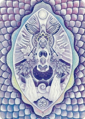 Chakra 7 Crown - Triple Goddess Tarot by Isha Lerner (art by Mara Friedman)
