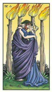 Four of Staffs (Wands) - Alchemical Tarot Renewed by Robert M. Place