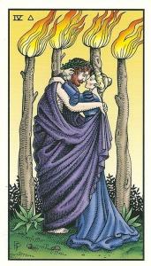 Four of Staffs (Wands) - Alchemical Tarot Renewed by Robert M. Place