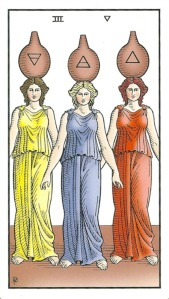 Three of Vessels (Cups) - Alchemical Tarot Renewed by Robert M. Place