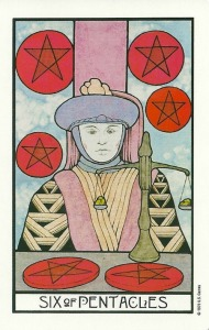Six of Pentacles - Aquarian Tarot by David Palladini