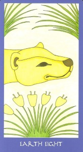 Earth Eight (Eight of Pentacles) - Minoan Tarot by Ellen Lorenzi-Prince