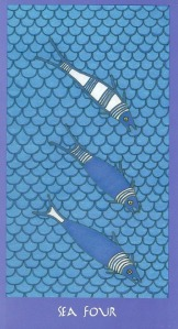 Sea Four (Four of Cups) - Minoan Tarot by Ellen Lorenzi-Prince