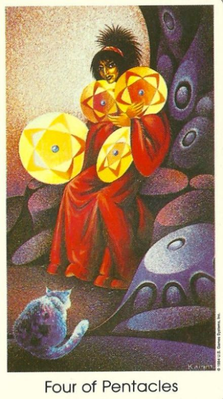 Four of Pentacles from Tarot of the Cat People by Karen Kuykendall.