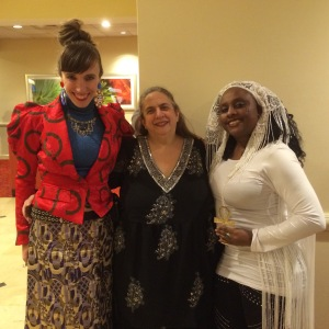 Dressing up for the banquet, with Ruth Ann Amberstone and Gina Jean.