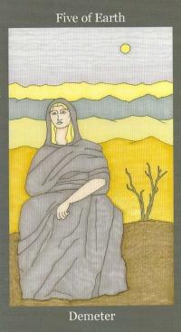 Five of Earth(Pentacles) ~ Demeter - Dark Goddess Tarot by Ellen Lorenzi-Prince
