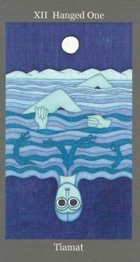 Hanged One ~ Tiamat - Dark Goddess Tarot by Ellen Lorenzi-Prince