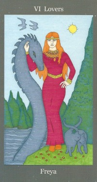 Lovers ~ Freya - Dark Goddess Tarot by Ellen Lorenzi-Prince