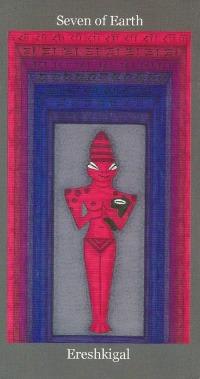 Seven of Earth (Pentacles) ~ Ereshkigal - Dark Goddess Tarot by Ellen Lorenzi-Prince