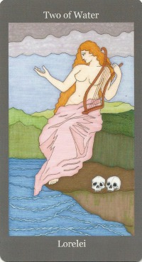 Two of Water (Cups) ~ Lorelei - Dark Goddess Tarot by Ellen Lorenzi-Prince