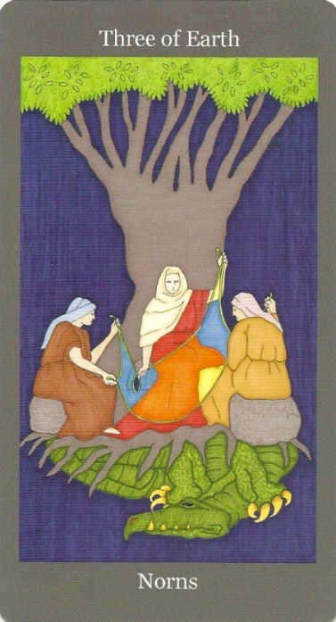 3 of Earth (Pentacles) ~ Norns - Dark Goddess Tarot by Ellen Lorenzi-Prince
