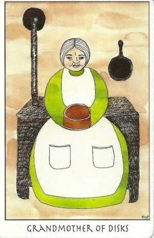 Grandmother of Disks (Queen of Pentacles) - Tarot of the Crone by Ellen Lorenzi-Prince