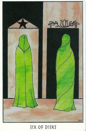 Six of Disks (Pentacles) - Tarot of the Crone by Ellen Lorenzi-Prince