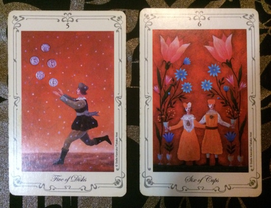 Five of Pentacles:Six of Cups - Stella's Tarot by Stella Kaoruko & Takako Hoei