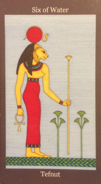 Six of Water (Cups) - Tefnut - Dark Goddess Tarot by Ellen Lorenzi-Prince