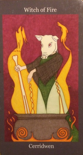Witch of Fire (Queen of Wands) - Dark Goddess Tarot by Ellen Lorenzi-Prince