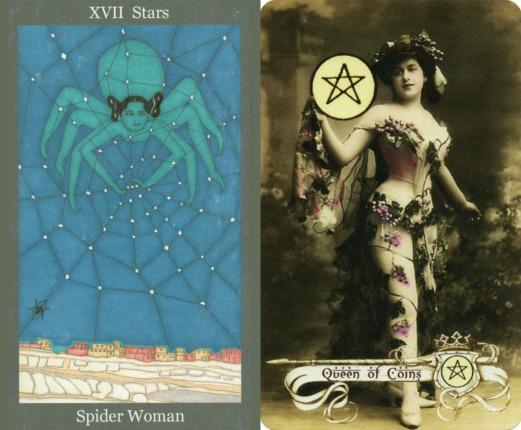 Stars - The Dark Goddess Tarot  and Queen of Coins - The Relative Tarot.jpg