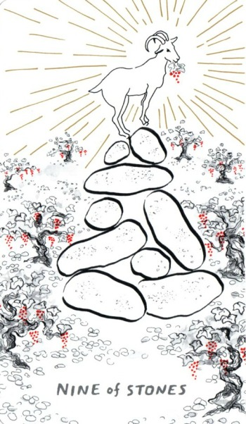 nine-of-stones-pentacles-slow-holler-tarot-deck