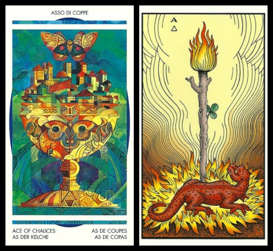 Ace of Chalices (Crystal Tarot by Elisabetta Trevisan) Ace of Staffs (Alchemical Tarot by Robert Place).jpg