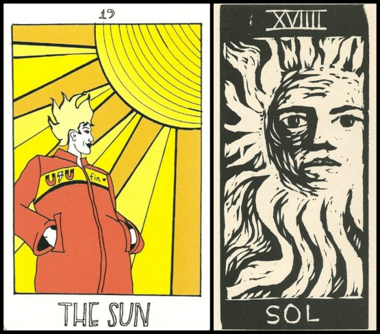 The Sun - The Collective Tarot by the Tarot Collective & Sol - Los 22 Arcanos del Tarot by Gloria Calderon.jpg