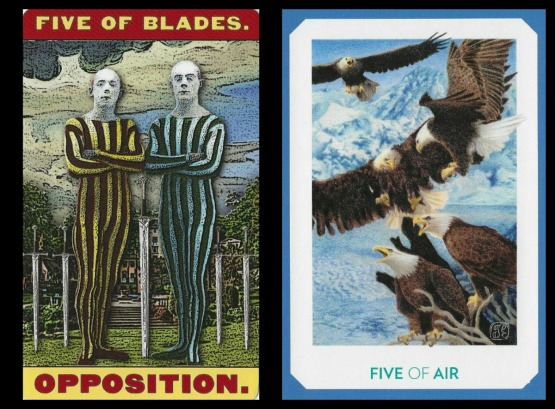 Five of Swords - Tarot of the Zirkus Magi and The Gaian Tarot