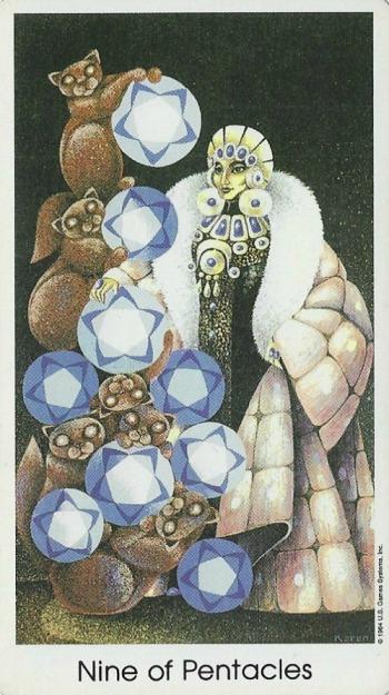 Nine of Pentacles - Tarot of the Cat People by Karen Kuykendall