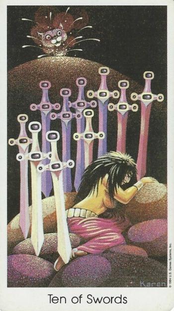Ten of Swords - Tarot of the Cat People by Karen Kuykendall