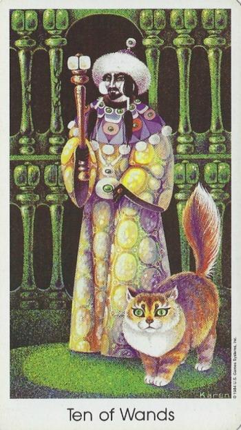 Ten of Wands - Tarot of the Cat People by Karen Kuykendall