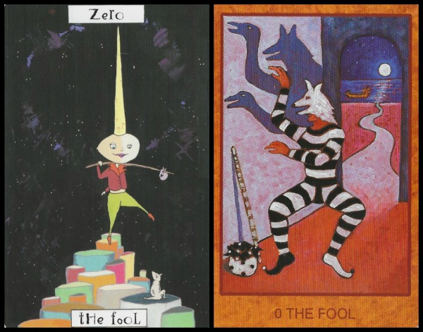 The Fool - Phantasmagoric Theater Tarot by Graham Cameron and Tarot de St. Croix by Lisa de St. Croix
