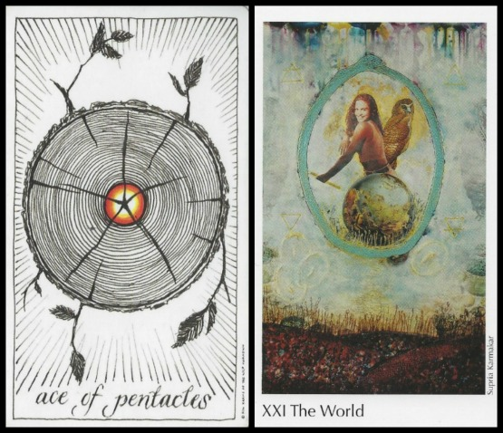 Ace of Pentacles - The Wild Unknown Tarot, The World - The Elora Tarot