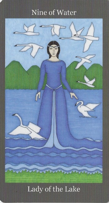 Nine of Water (Cups) ~ Lady of the Lake - Dark Goddess Tarot by Ellen Lorenzi-Prince