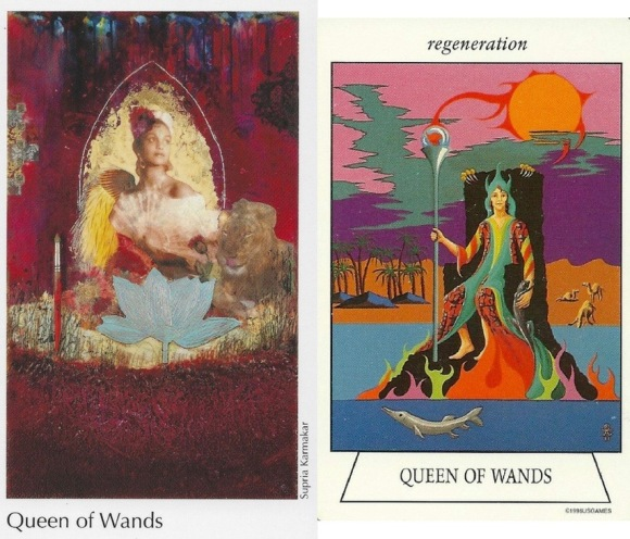 Queen of Wands Elora Tarot & Navigators Tarot of the Mystic Sea