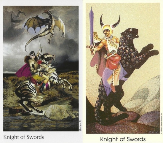 Knight of Swords from The Elora Tarot conveived by Shelley Carter, this artwork by Shirley Al; and Tarot of the Cat People by Karen Kuykendall