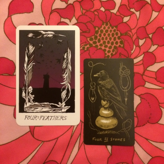 Four of Feather & Four of Stones - The Collective Tarot & Slow Holler Tarot